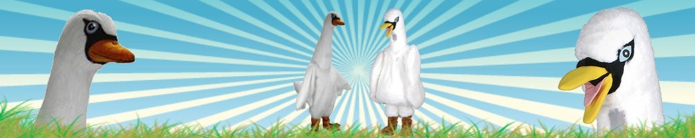Swan costumes mascots ✅ running figures advertising figures ✅ promotion costume shop ✅